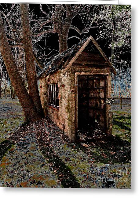 Sheds Greeting Cards - Warned Greeting Card by Cindy Roesinger