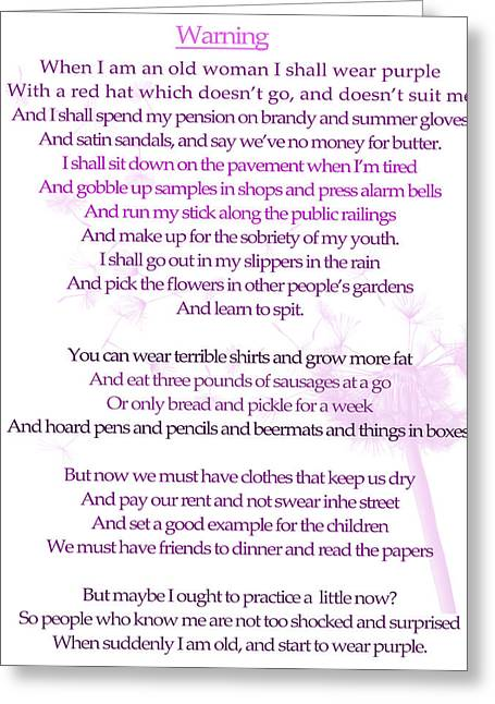 Warning Poem Greeting Card by Georgia Fowler