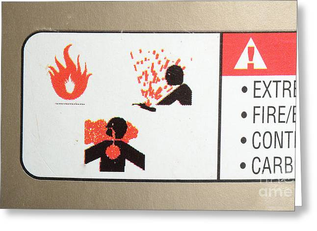Carbon Monoxide Greeting Cards - Warning Label Greeting Card by Photo Researchers, Inc.