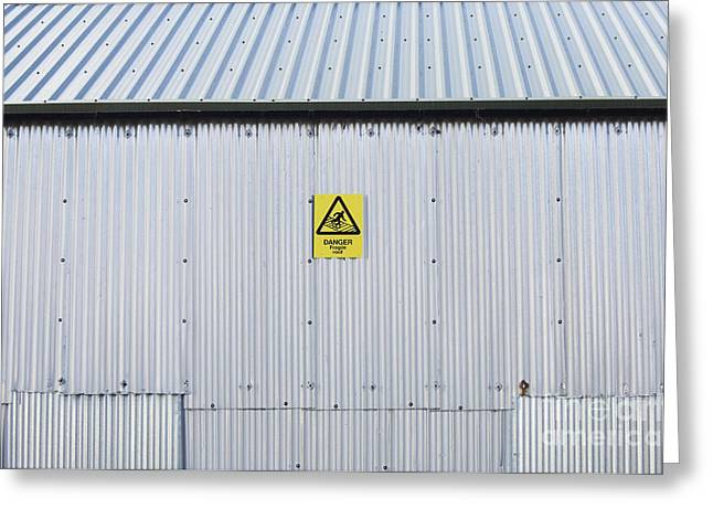 Metal Sheet Photographs Greeting Cards - Warning Sign on an Industrial Building Greeting Card by Iain Sarjeant