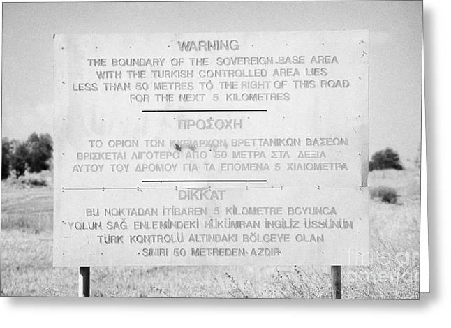 warning sign warning of the border of the turkish military controlled area of the SBA Sovereign Base Greeting Card by Joe Fox