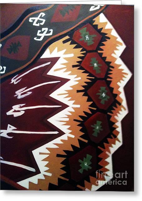 Carpet Tapestries - Textiles Greeting Cards - Warped Greeting Card by Nuray Erkutay Fuller