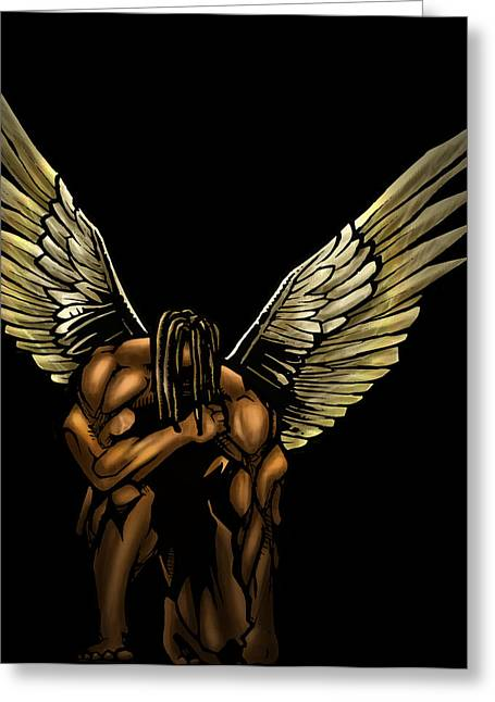 African Angel Greeting Cards - Warrior Angel Greeting Card by Brandon Coley