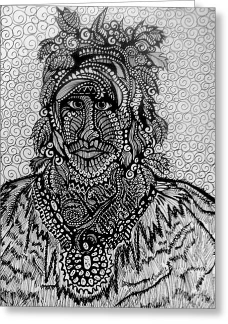 Pensive Drawings Greeting Cards - Warrior Hunter  Greeting Card by Gerri Rowan