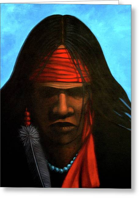 Contemporary Native American Greeting Cards - Warrior Greeting Card by Lance Headlee