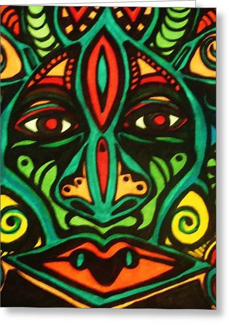 Subconscious Greeting Cards - Warrior Mask Greeting Card by Gerri Rowan