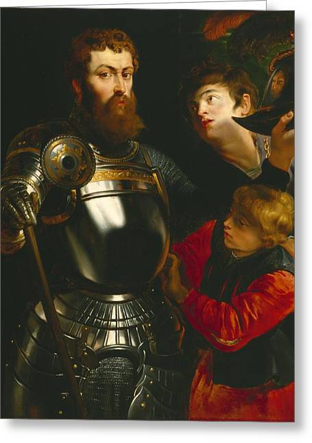 Peter Paul (1577-1640) Greeting Cards - Warrior  Greeting Card by Peter Paul Rubens
