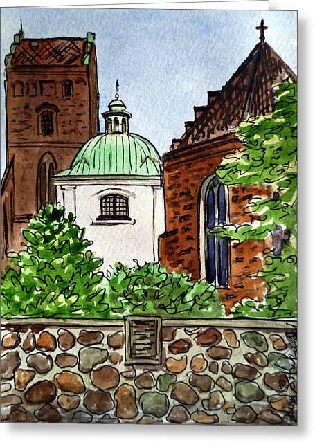 Travel Sketch Greeting Cards - Warsaw Poland Greeting Card by Irina Sztukowski