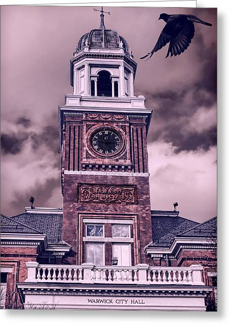 Old City Prints Greeting Cards - Warwick City Hall Greeting Card by Lourry Legarde