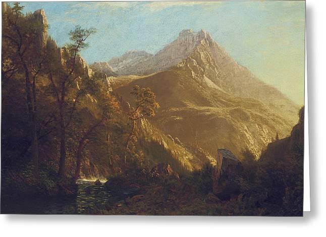 Bierstadt Greeting Cards - Wasatch Mountains Greeting Card by Albert Bierstadt
