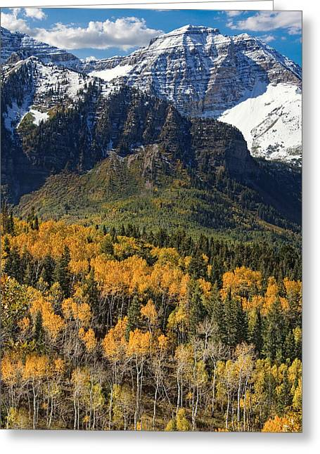 Crag Greeting Cards - Wasatch Mountains Autumn Greeting Card by Utah Images