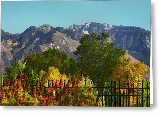 Snow-covered Landscape Digital Greeting Cards - Wasatch Mountains In Autumn Painting Greeting Card by Tracie Kaska
