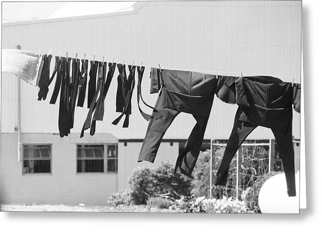 Amish Greeting Cards - Wash Day Greeting Card by Kathy Jennings