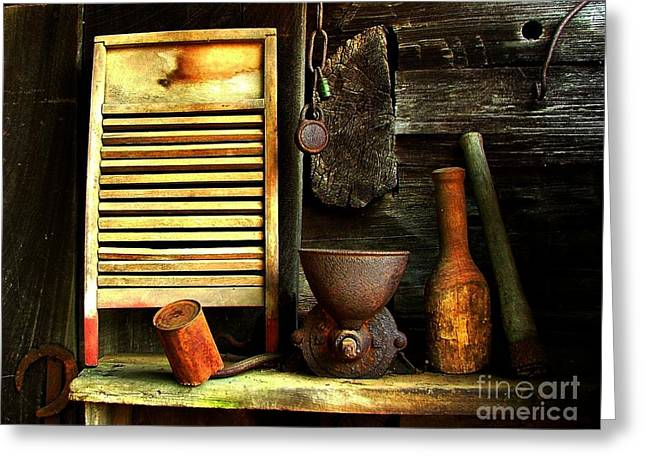 Washboard Still Life Greeting Card by Julie Dant