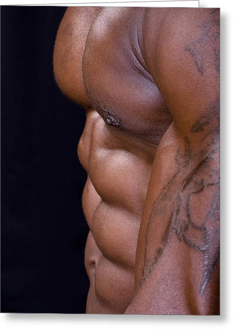 Fitness Model Greeting Cards - Washboard Stomach Greeting Card by Val Black Russian Tourchin