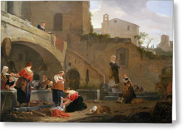 Chore Greeting Cards - Washerwomen by a Roman Fountain Greeting Card by Thomas Wyck