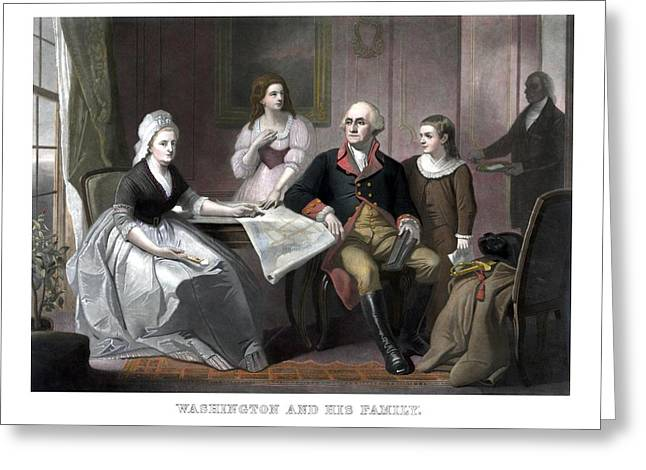American Revolution Greeting Cards - Washington And His Family Greeting Card by War Is Hell Store