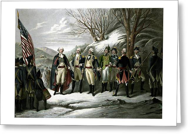 Revolutionary War Drawings Greeting Cards - Washington and His Generals  Greeting Card by War Is Hell Store