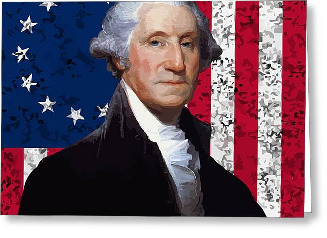 Us Founding Father Greeting Cards - Washington and The American Flag Greeting Card by War Is Hell Store