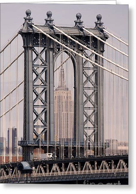 Greeting Cards - Washington Bridge and Empire State Building Greeting Card by Holger Ostwald