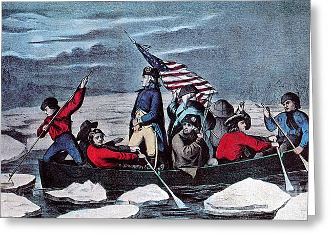 Colonial Man Greeting Cards - Washington Crossing The Delaware, 1776 Greeting Card by Photo Researchers
