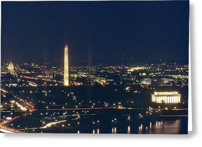 Washington D.c. At Night, Seen Greeting Card by Kenneth Garrett