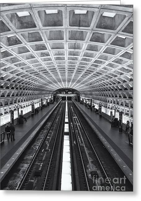 Brutalism Greeting Cards - Washington DC Metro Station II Greeting Card by Clarence Holmes