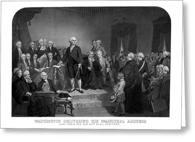 Revolutionary War Drawings Greeting Cards - Washington Delivering His Inaugural Address Greeting Card by War Is Hell Store