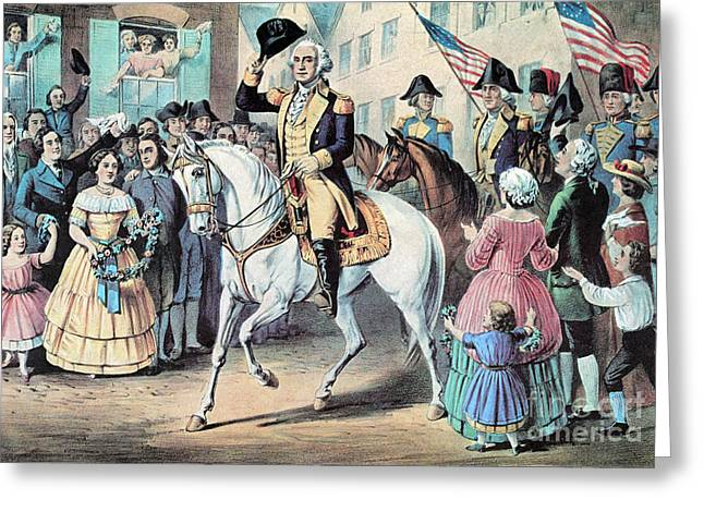 Take Command Greeting Cards - Washington Enters New York City After Greeting Card by Photo Researchers