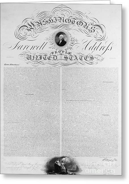 Washington: Farewell, 1796 Greeting Card by Granger