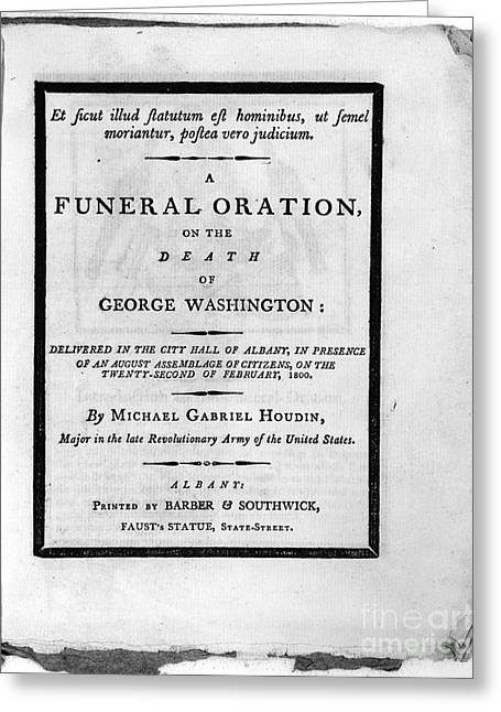 Book Title Greeting Cards - Washington: Funeral, 1800 Greeting Card by Granger