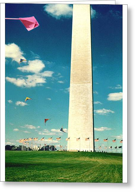 American Flag Pyrography Greeting Cards - Washington Monument 1982 Greeting Card by Noah Brooks