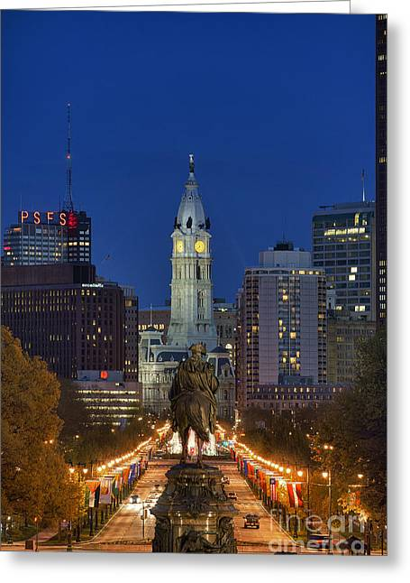 Downtown Franklin Greeting Cards - Washington Monument and City Hall Greeting Card by John Greim