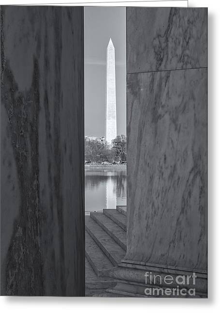 D.w Greeting Cards - Washington Monument from Jefferson Memorial II Greeting Card by Clarence Holmes