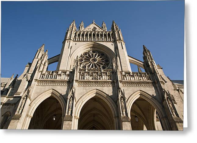 Neo-gothic-style Greeting Cards - Washington National Cathedral Entrance Greeting Card by Richard Nowitz