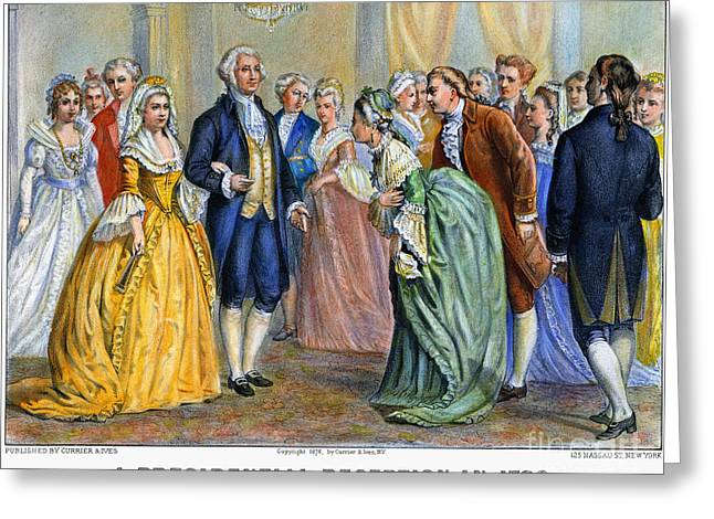 Lady Washington Greeting Cards - Washington Reception, 1789 Greeting Card by Granger
