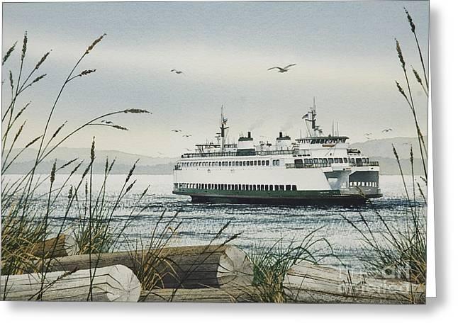 Washington State Greeting Cards - Washington State Ferry Greeting Card by James Williamson