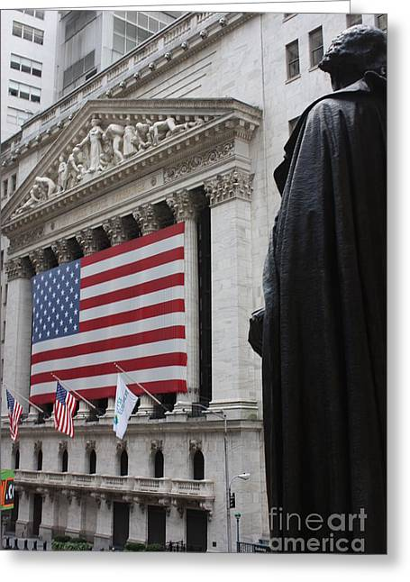 Wall Street Greeting Cards - Washington surveys the market Greeting Card by David Bearden
