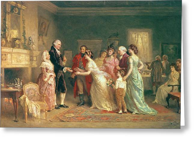 20th Greeting Cards - Washingtons Birthday Greeting Card by Jean Leon Jerome Ferris