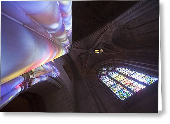 Neo-gothic-style Greeting Cards - Washingtons National Cathedral Stained Greeting Card by Richard Nowitz