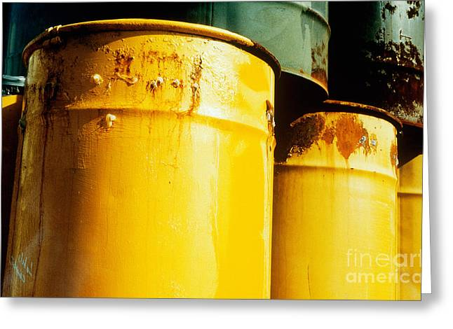 Toxic Waste Greeting Cards - Waste Drums Greeting Card by Science Source