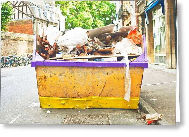 Rubbish Greeting Cards - Waste Skip Greeting Card by Tom Gowanlock