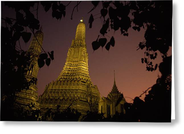 Indochinese Architecture And Art Greeting Cards - Wat Arun, Temple Of The Dawn, At Sunset Greeting Card by Paul Chesley