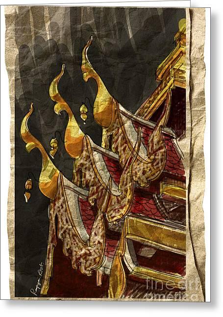 Sketchbook Greeting Cards - Wat Chai Mong Khon. Greeting Card by Panupong Roopyai