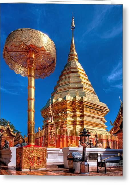 Southeast Asia Greeting Cards - Wat Phrathat Doi Suthep Greeting Card by Adrian Evans