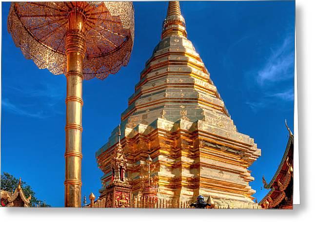 Wat Phrathat Doi Suthep Greeting Card by Adrian Evans