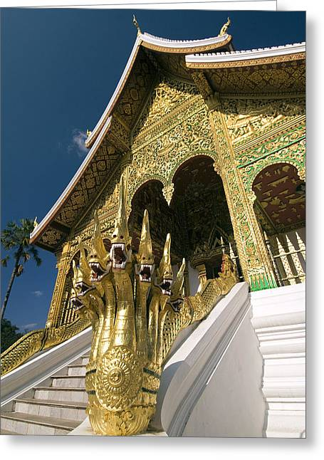 Unique View Greeting Cards - Wat Sen Naga Heads Greeting Card by Gloria & Richard Maschmeyer