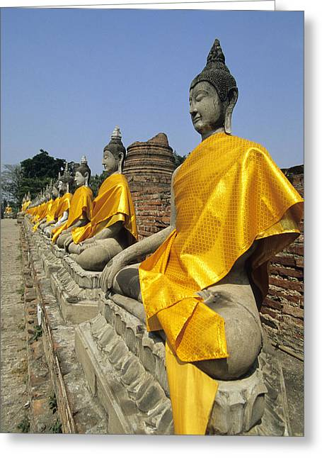 Ayuthaya Greeting Cards - Wat Yai Chaya Mongkoi, Ayutthaya Greeting Card by Ron Watts