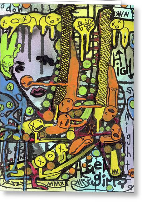 Raw Contemporary Graffiti Greeting Cards - Watch Her Strut Greeting Card by Robert Wolverton Jr
