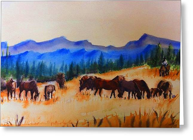 Lone Horse Paintings Greeting Cards - watch I Greeting Card by Luis  Leon